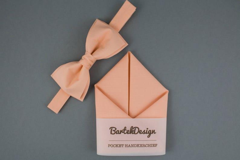 Orange Bow Tie Orange Pocket Square Matching Set Bow Tie image 0