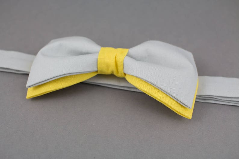 Gray Bow Tie Yellow Bow Tie Double Color Bow Tie for Men image 0