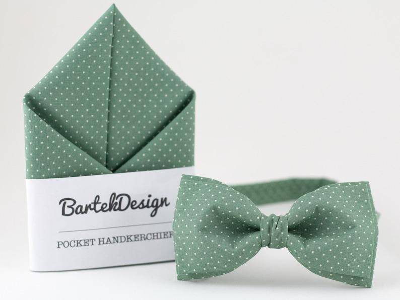 Sea Green Combo Set Bow Tie And Pocket Square Green Polka Dots image 0