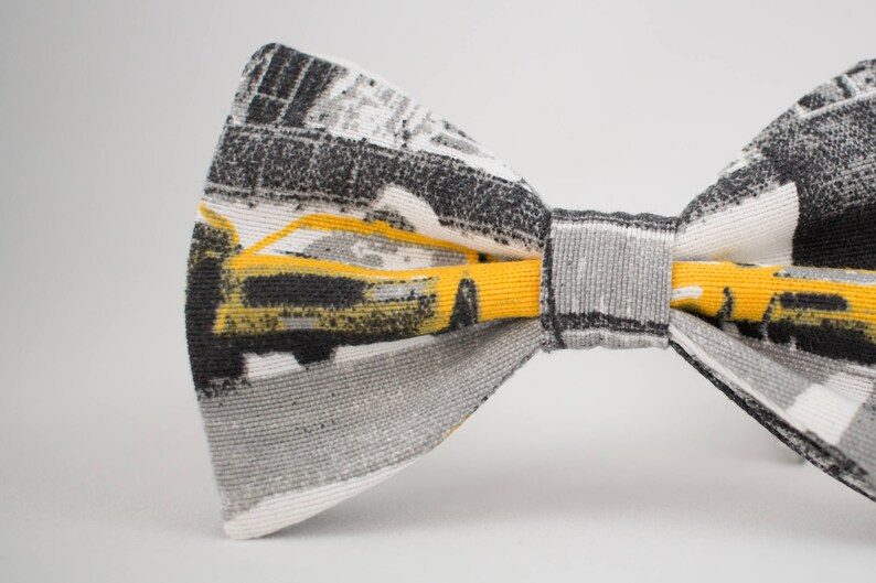 Yellow Cab Bow Tie New York Taxi Bow Tie Gray Bow Tie for Men image 0