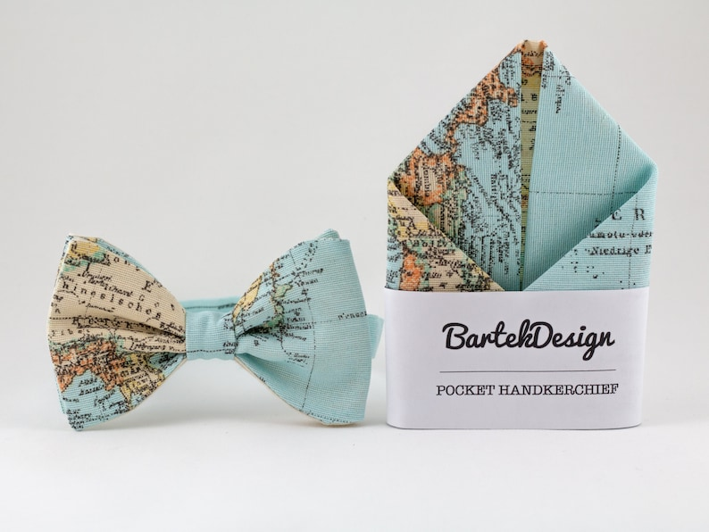 Ice Blue Matching Set Bow Tie and Pocket Square Map Bow Tie image 0