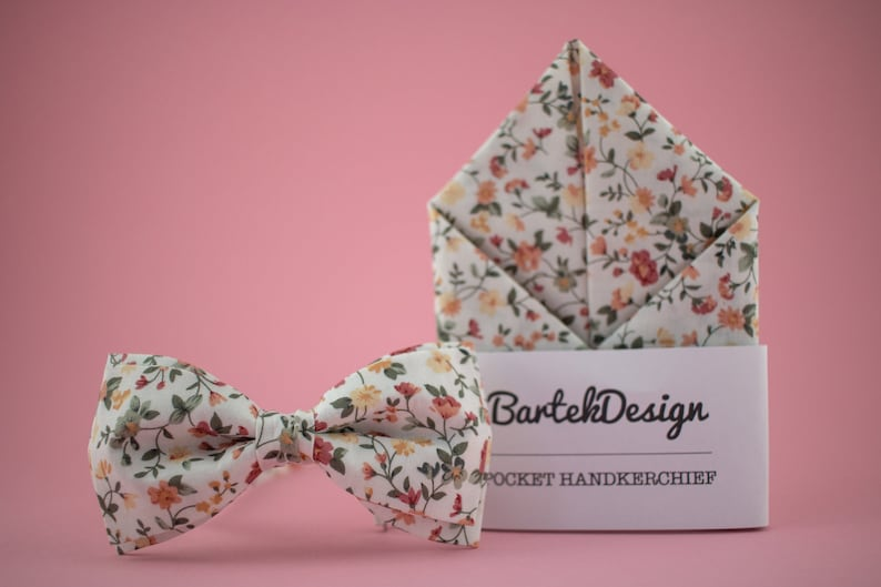 Floral Matching Set Bow Tie Floral Pocket Square White Bow Tie image 0