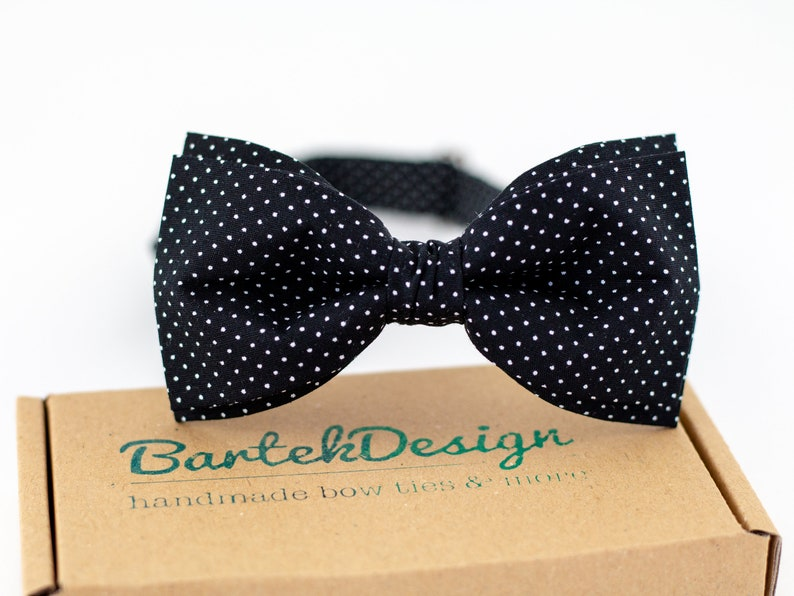 Black Polka Dots Bow Tie Dotted Bow Tie Black White Bow Tie image 0