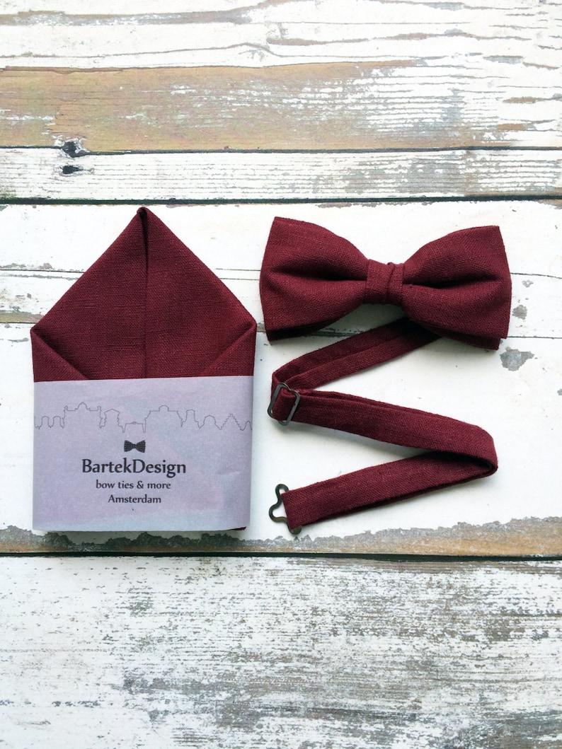 cbc0d45d40a1 Burgundy Bow Tie Burgundy Pocket Square Set Bow Tie | Etsy