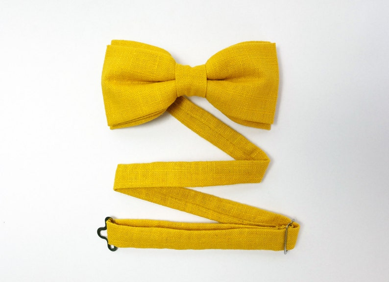 Yellow Bow Tie for Men Linen Bow Tie Wedding Bow Tie for image 0