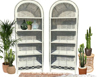 Vintage Rattan Bookcase PAIR Wicker Etagere Set White Bookshelf Bohemian Decor Tropical Arched Bookcases