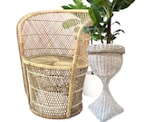 Vintage Wicker Plant Stand 24 quot Rattan Plant Fern Stand Pedestal