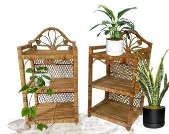 Vintage Rattan End Tables SET Bamboo PAIR Nightstands Bohemian Decor 2 Tier Peacock Curl Bookshelf Tropical Boho