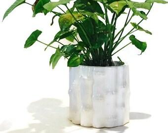 Vintage Faux Bamboo White Ceramic Planter Hollywood Regency Pot Outdoor Indoor Chinoiserie Ceramic Decor Plant Pot White on White