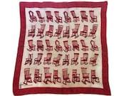Vintage Silk Scarf Rocking Chair Scarf Antique Furniture Handkerchief Head Scarf Bandana