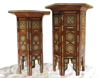 Perfect Vintage Inlay Tabouret Tables Moroccan Parquetry Tables Set Moorish  Pedestal Stands Plant Stands Side Tables Bohemian Decor SET Of 2