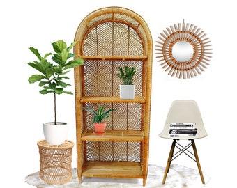 Vintage Rattan Etagere Bookshelf 6FT Bookcase Arch Dome Top 4 Shelf Display Stand Bohemian Decor Tropical Shelving