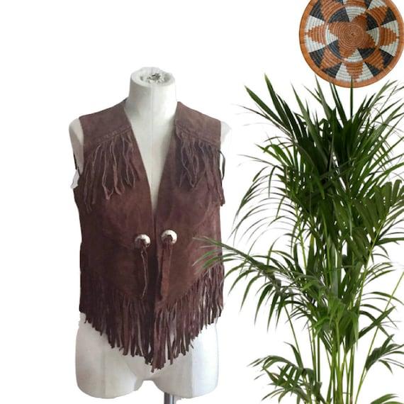 Vintage Leather Vest Fringe Suede Vest XS S Bohemi