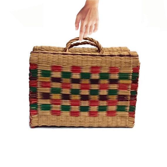 Vintage Basket Purse Market Tote Woven Straw Top H