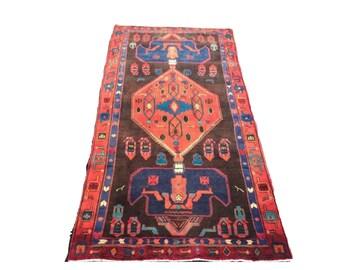 Vintage Persian Rug Runner 9 FT Hand Knotted Wool Runner Rug Tribal Symbol Rug 50 x 84