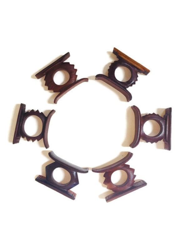 Vintage African Napkin Ring Holders Ashanti Stool Wood Carved Set of 6 Tribal Dining