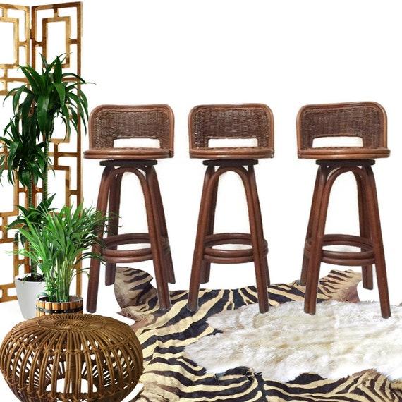 Mid Century Modern Bamboo Bar Stools Rattan Stools Set Swivel Etsy