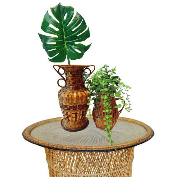 Vintage Bamboo Vases Rattan Vase Set Bohemian Decor Etsy