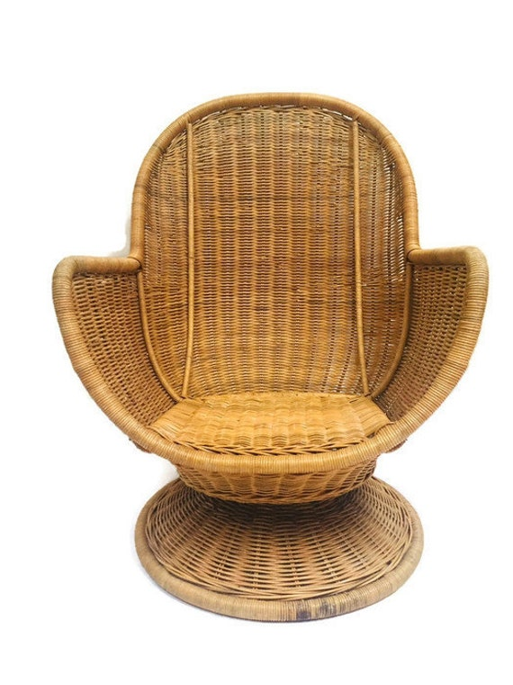 Superb Vintage Rattan Egg Chair Swivel Wicker Pod Boho Club Chair Pabps2019 Chair Design Images Pabps2019Com