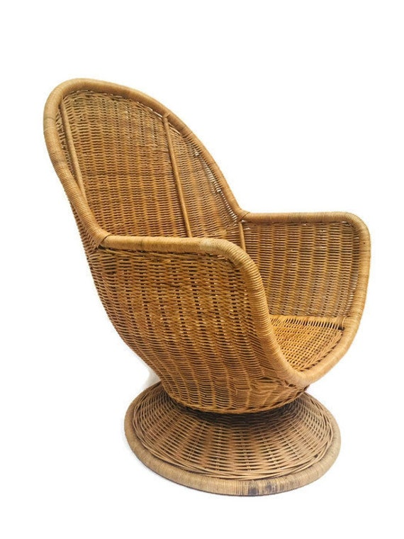 Super Vintage Rattan Egg Chair Swivel Wicker Pod Boho Club Chair Pabps2019 Chair Design Images Pabps2019Com