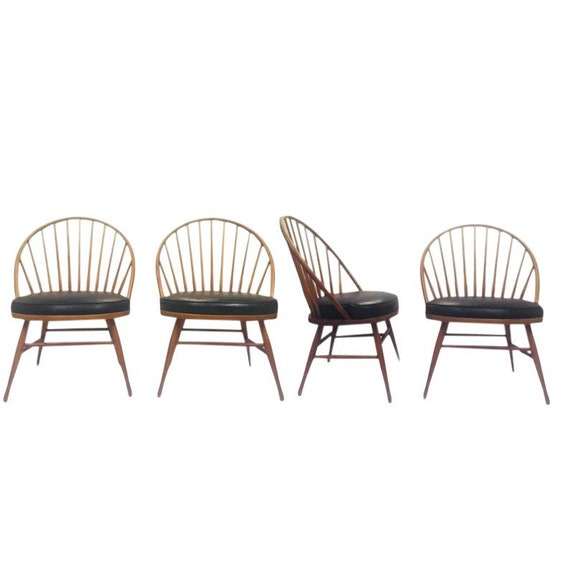 Incredible Mid Century Fan Back Spindle Windsor Chairs Teak Peacock Heywood Wakefield Side Chairs Set Of 4 Gmtry Best Dining Table And Chair Ideas Images Gmtryco