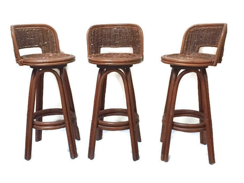 Surprising Vintage Bamboo Swivel Bar Stools Rattan Stools Counter Tiki Barstools Set Of 3 Ocoug Best Dining Table And Chair Ideas Images Ocougorg