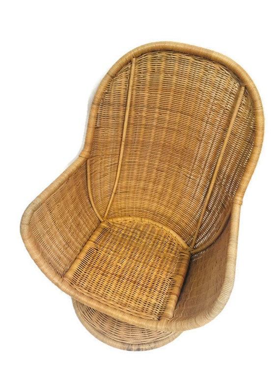 Wondrous Vintage Rattan Egg Chair Swivel Wicker Pod Boho Club Chair Pabps2019 Chair Design Images Pabps2019Com