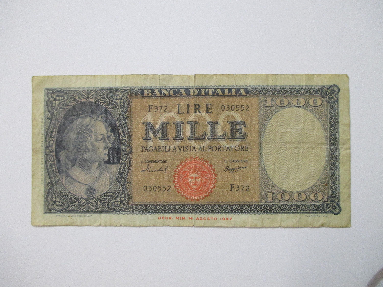 1947 Italy 1000 Lire Mille Banca D Italia Good Etsy