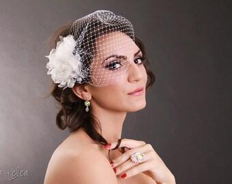 Boho bibi de mariée birdcage voile avec un tissu Ivoire fleur, déclaration, champagne, chic, shabby, mariage, style bandeau, vintage, voile des années 1920