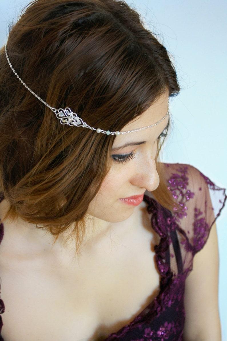 Haarschmuck Neu Damen-kopf Metallkette Mode Silber Schmuck Griechisch Reif Strass