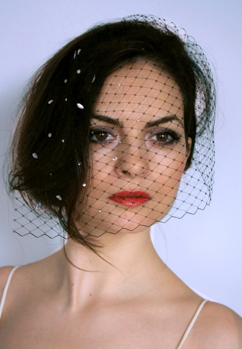 ee5e9702711c5 Vintage black birdcage veil with crystals strass
