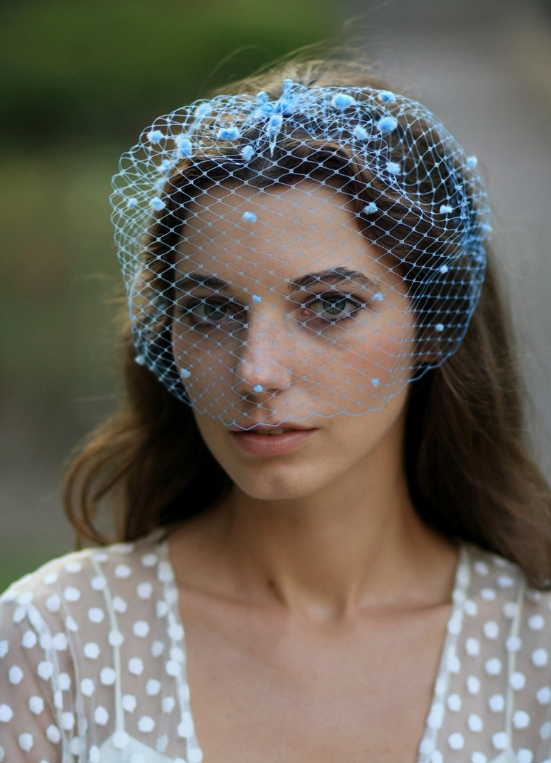 c9bef1d243502 Blue bridal birdcage veil with dots chenille dotted veil