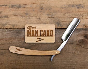 Personalized Straight Razor Set with Man Card Travel Strop - Vintage Shaving Set - Grooming Set - Gifts for Men - Groomsmen Gifts - Bamboo