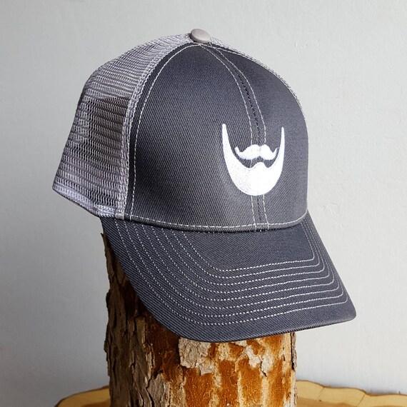 298fa0aea Beard Man Trucker Hat - Mesh Snapback Cap with Embroidered Beard Logo -  Grey - Beard Apparel Gifts for Him