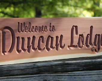 Personalized Wood Sign - CNC Custom Carved Aromatic Cedar Wood Sign - Lodge