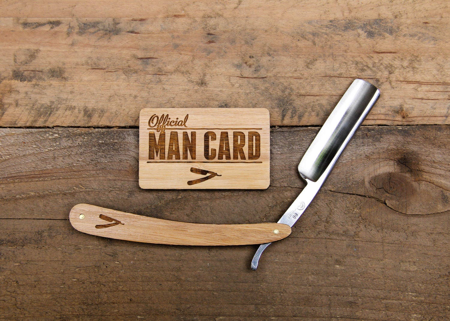 Personalized Straight Razor Shave Set with Engraved Man Card Travel Strop - Vintage Shaving & Grooming Kit with Bamboo Wood Scales