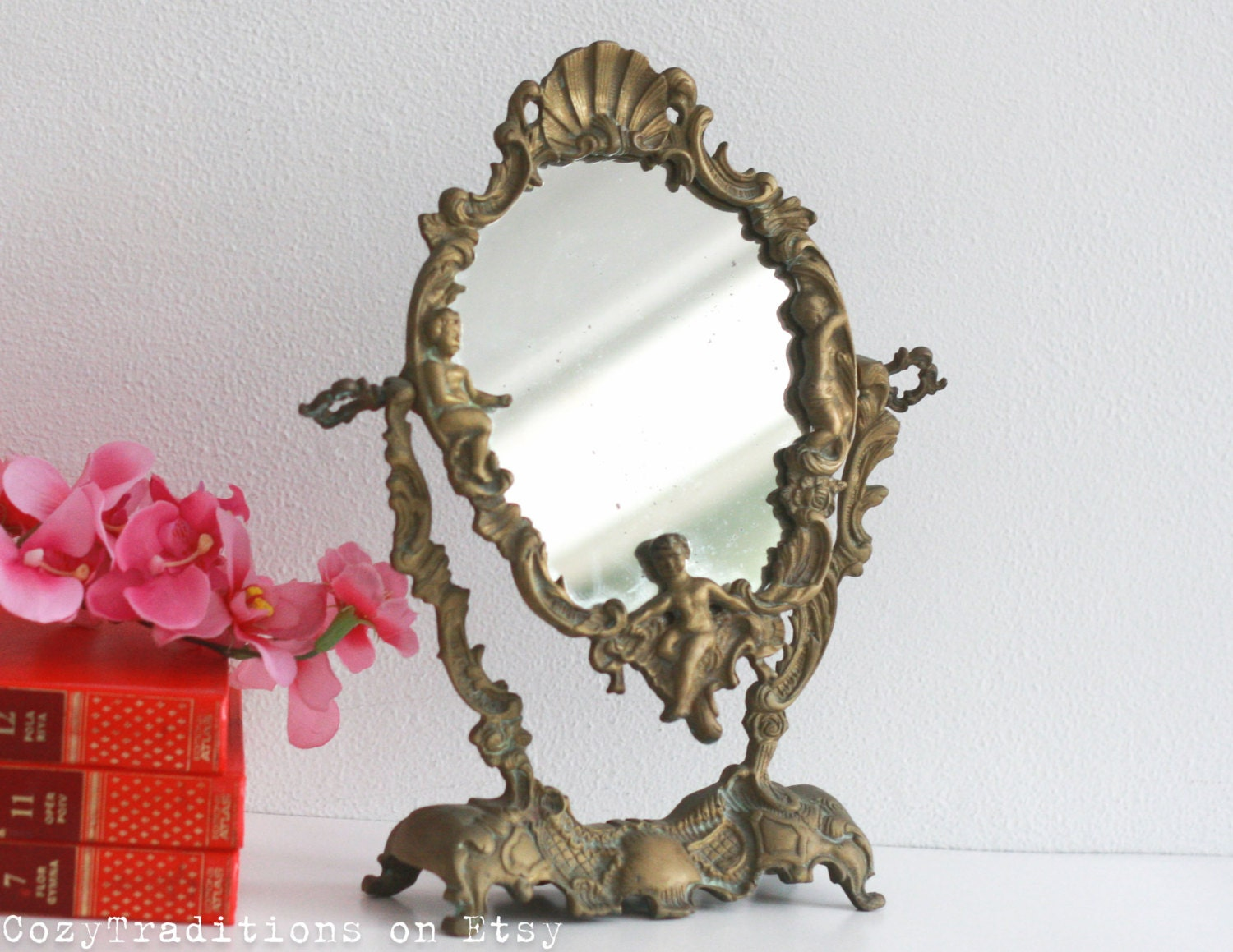 Vanity Mirror Table Makeup Mirror On Stand Vintage Victorian Etsy