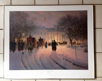 1990 G Harvey An Evening With the President Limited Edition Signed and Numbered 1056/4692 Framed and Matted Print