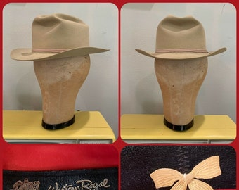 aa13f7e3 60s STETSON WESTERN ROYAL Fort Worth Crease Cowboy Hat 7 Small Silver Belly  Western Dusty Vintage Cowgirl Hat Buckaroo Rockabilly Rodeo