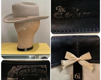 4a3d1458 80s STETSON OPEN ROAD 4X Beaver Silverbelly Cowboy Hat Sz 6 7/8 Small Pin  Logo Vintage Cosmic Cowboy Hippie Festival Western Rodeo Buckaroo