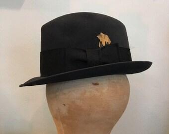 37f5806f Vintage 70s Royal Stetson Hat Fedora 6 7/8 Small Charcoal Grey Felt Cowboy  Bowler Gypsy Boho Dandy Bespoke Hatters Western Buckaroo Rodeo