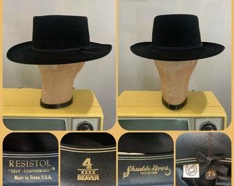 abcbea7c5352e3 RESISTOL GAMBLER 4x Beaver Cowboy Hat BLACK Size 7 1/8 S / M Open Western  Cowboy Western Yee Haw Honky Tonk Rodeo Buckaroo Stage Wear R.V.Z.