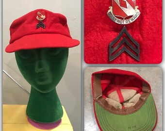 0d31ba67022 Vintage 60s Vietnam War US Army Airborne Parachute Rigger Hat Red Made in  Theater Patch Pins Pin Workwear Military Trucker Hat Cap Stenciled
