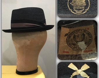 fae71303eb3 Vintage 60s Stetson Charcoal Panama Straw Fedora Hat Size 7 Retro Pimp  Rockabilly Swing Western Bowler Zoot Suit Dandy Bespoke Hatters