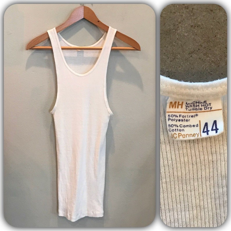 ba7a37db2f558 Vintage 70s JC Penney White Tank Top Wife Beater Under T Shirt