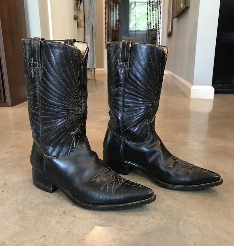 a9129d74111 Vintage 60s 50s Black Leather Cowboy Western Boots Mens 9 or