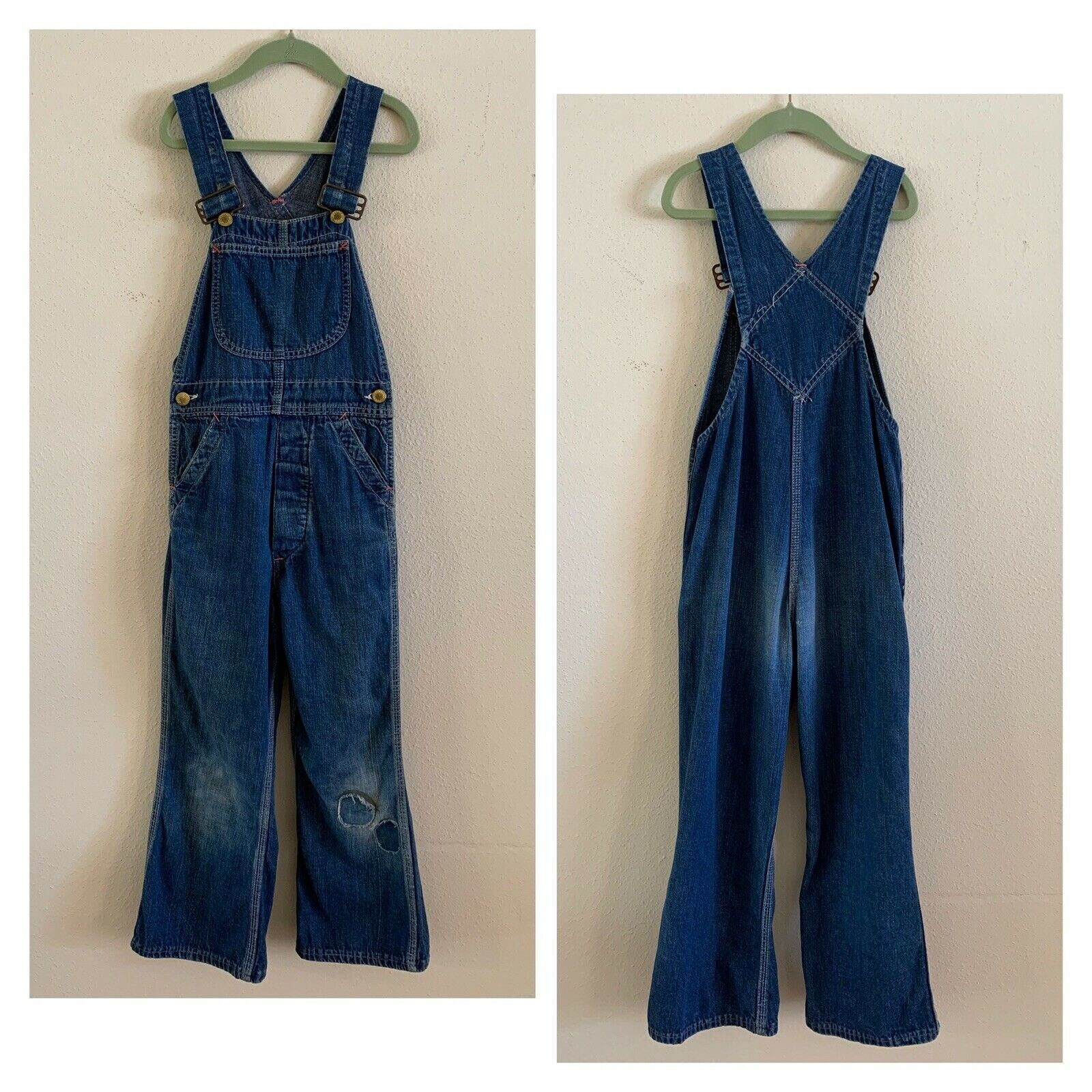 Vintage Overalls & Jumpsuits 50S Patched Union Made Distressed Overalls Denim Farm Jeans Chore Work Rodeo Kids Western Buckaroo Made in Usa Cowboy Cowgirl Pants $67.50 AT vintagedancer.com