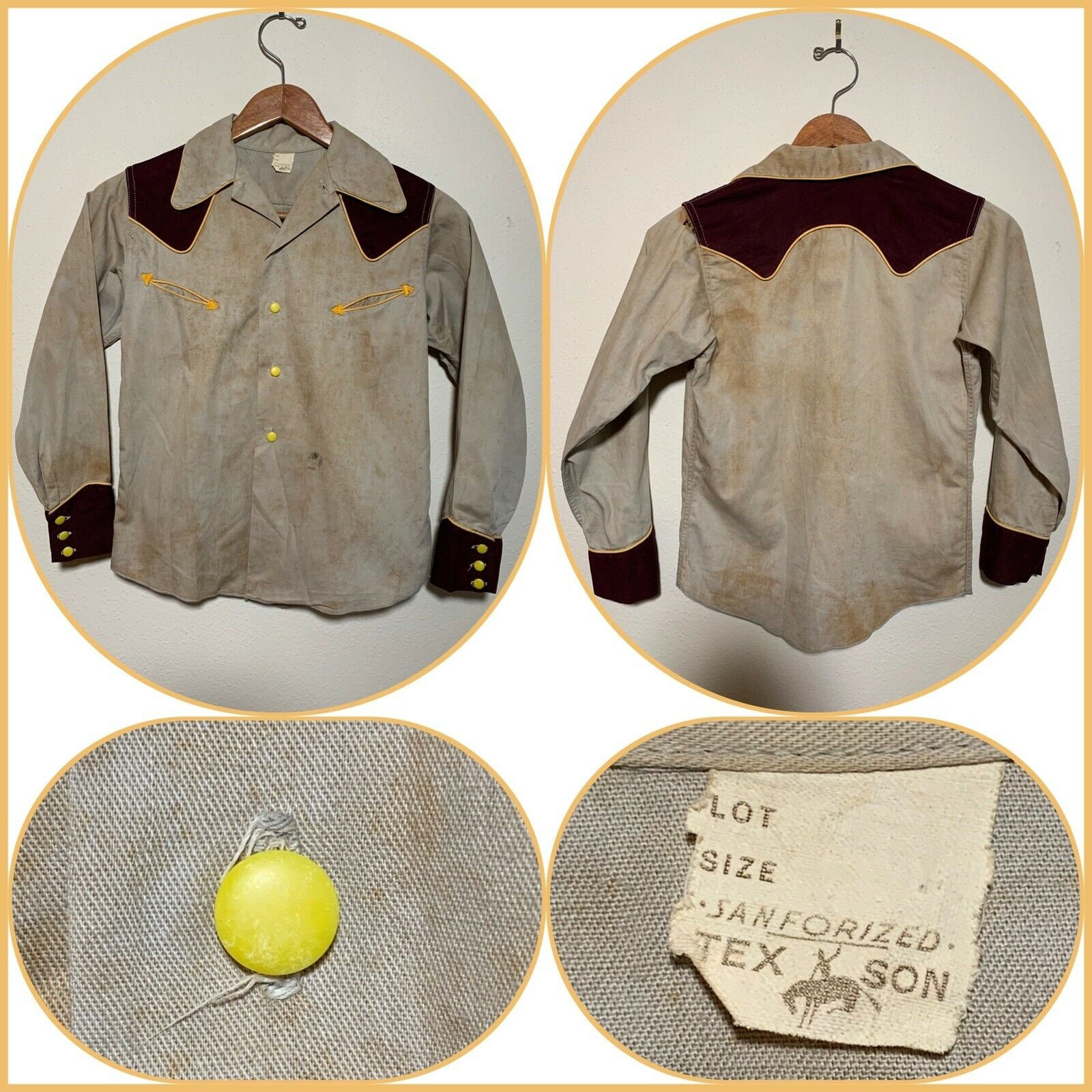 1940s Men's Shirts, Sweaters, Vests 40S Tex Son Western Wear Cowboy Shirt Sanforized Boys Age 12 Buckaroo Texas Rodeo Rockabilly Distressed Honky Tonk Cowgirl Fancy Shirt $87.50 AT vintagedancer.com