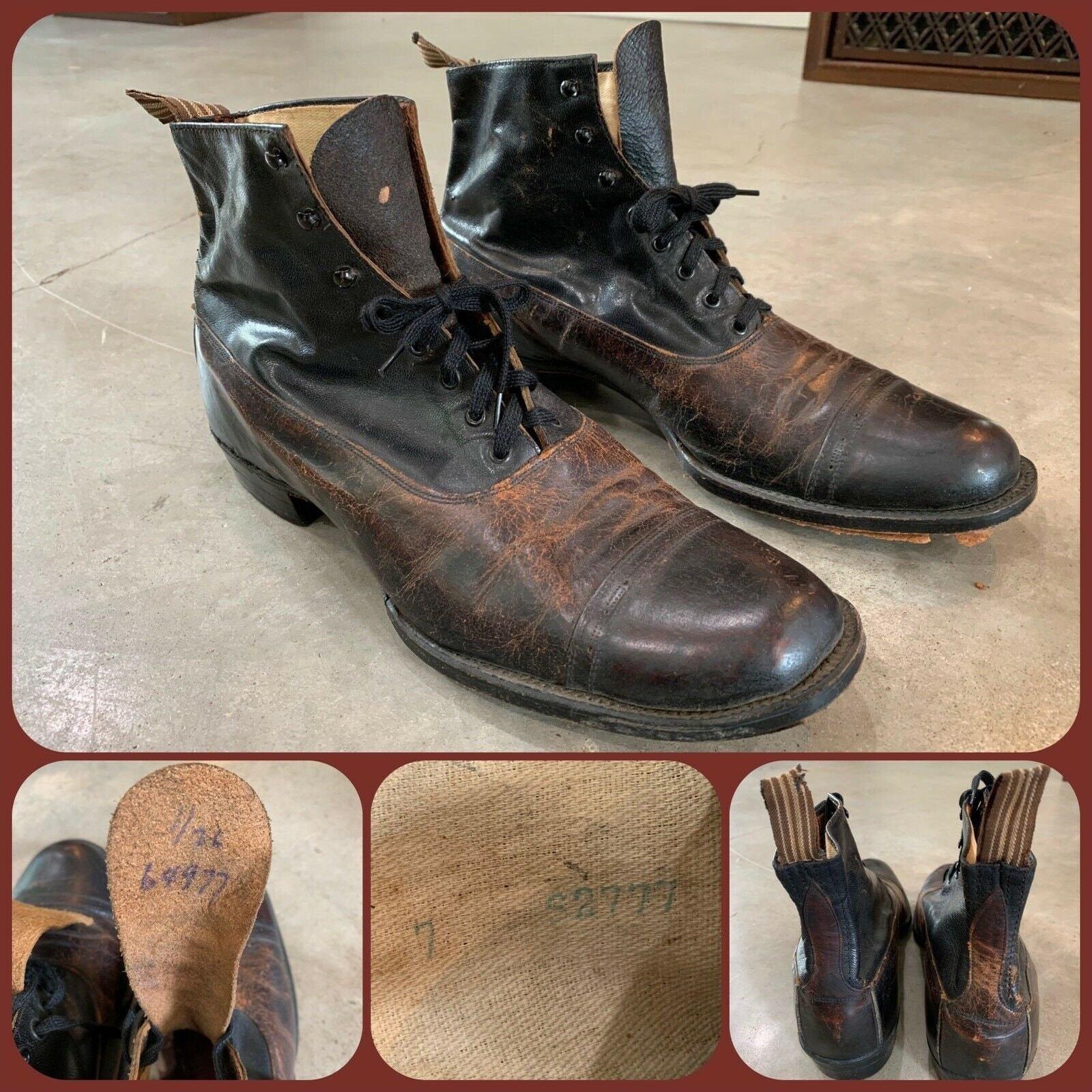 Men's 1920s Style Ties, Neck Ties & Bowties Antique Victorian Cap Toe Ankle Boot 2 Tone Dress Shoe Steampunk Wedding Tux Mens Size 7 Womens 9 Dandy Bespoke Formal Edwardian $87.50 AT vintagedancer.com