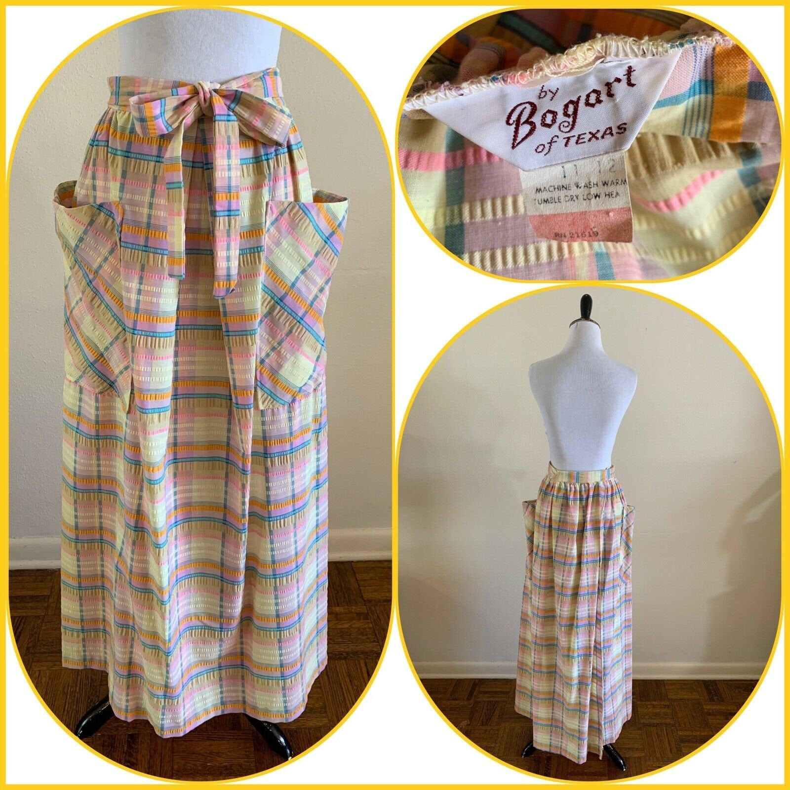Vintage Aprons, Retro Aprons, Old Fashioned Aprons & Patterns 70S Bogart Of Texas Plaid Apron Maxi Wrap Skirt Hippie Country Folk Patio Peasant Chore Mod Boho Cowgirl Western Farm Rodeo Summer $125.00 AT vintagedancer.com